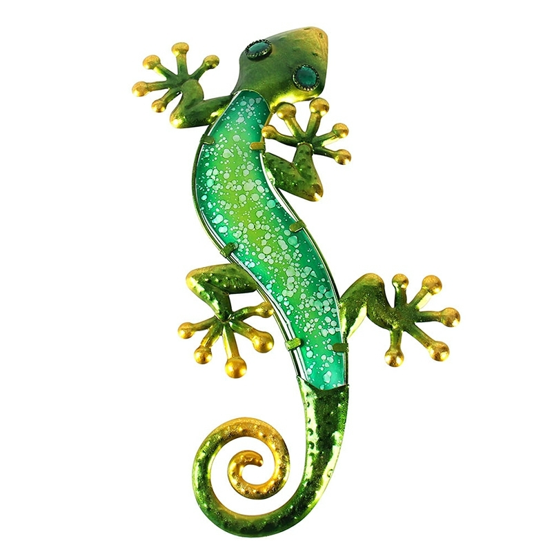 Metal Gecko Wall Decoration Artwork For Garden Outdoor Statues And Miniatures Accessories And Sculpture