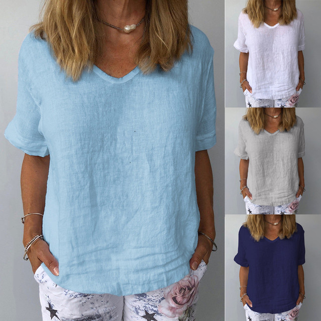 comfy Casual Cotton And Linen O-Neck Solid Short Sleeves T-Shirt 6