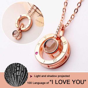 """Huitan Trendy Projection Women Necklace 100 Language """"I Love You"""" Best Birthday Anniversary Gift for Love 5201314 Letter Jewelry"""