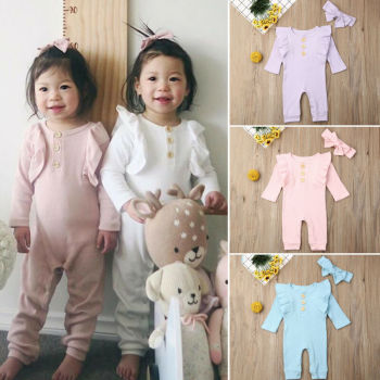Casual Autumn Newborn Baby Rompers Solid Cotton Ruffle Toddler Infant Girls 2PCS Clothes Set Knitted Jumpsuit+Headbands Outfit фото