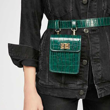 цены 2019 New Women Fanny Pack Designer Belt Bag Fashion Alligator Waist Bag Women Luxury Brand PU Leather Fall Winter Bum Bag