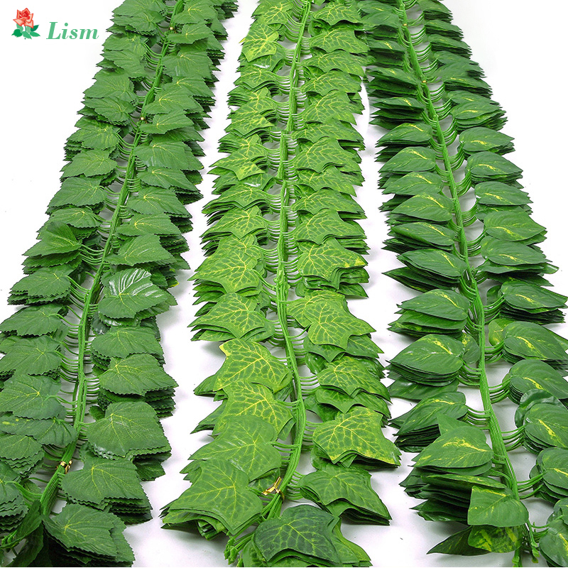 230cm Green Silk Artificial Hanging Ivy Leaf Garland Plants Vine Leaves 1Pcs Diy For Home Wedding Decoration Garden Party Decor