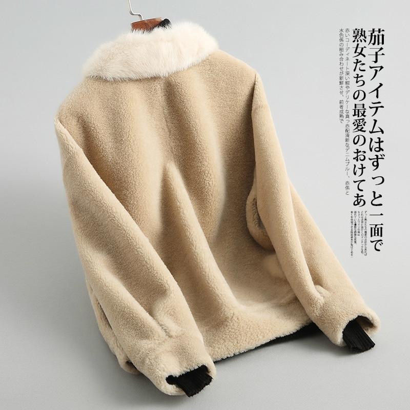 Parka Real Fur Sheep Shearing Coat Female Mink Fur Collar Winter Natural Wool Jackets Women Short Warm Clothes LWL1376