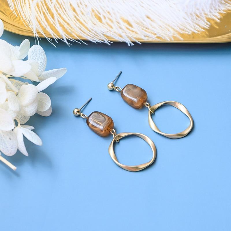 New Fashion Korean Acrylic Drop Earrings for Women Brown Statement Matte Gold Small Hanging Dangle Earings 2020 Wedding jewelry