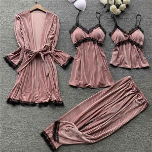 Image 4 - Gold velvet 4 pieces pajamas women sleepwear warm winter pajamas sets sexy lace robe loungewear with chest pad home service