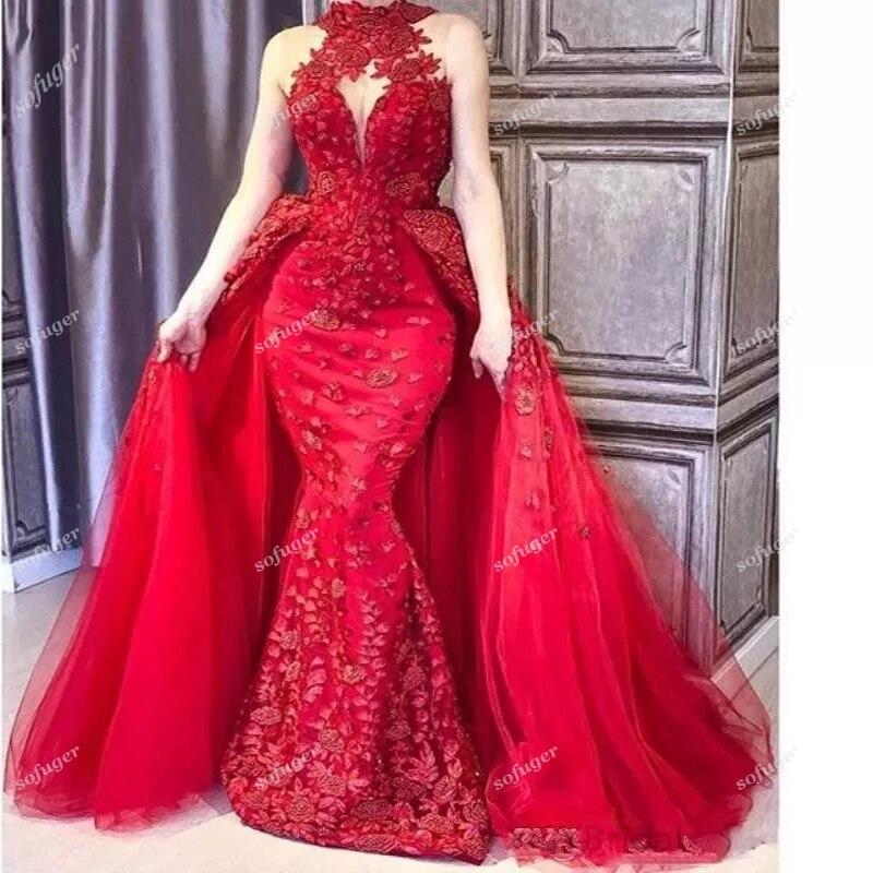 Red Halter Lace Evening Dresses Detachable Train Beads Robe De Soiree Celebrity Prom Wedding Party Gown Vestidos De Fiesta Noche
