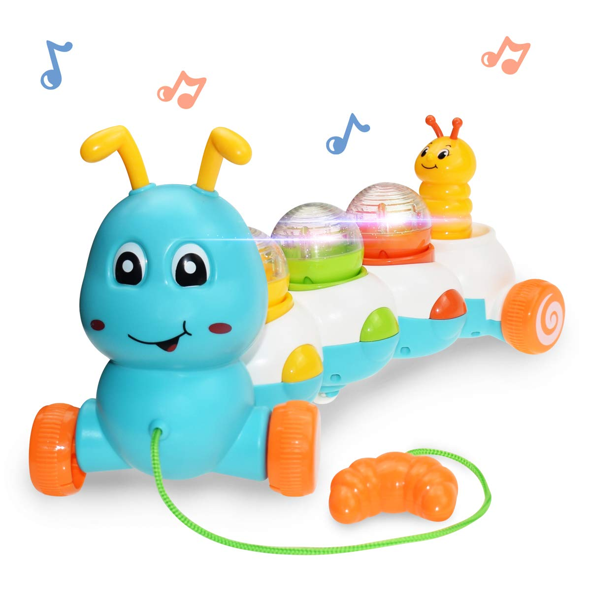 Baby Toddlers Toys Musical Pull Along Worm Toys With Light And Sound Learn To Walk Baby Flashing Toy For Boys Girls Birthday