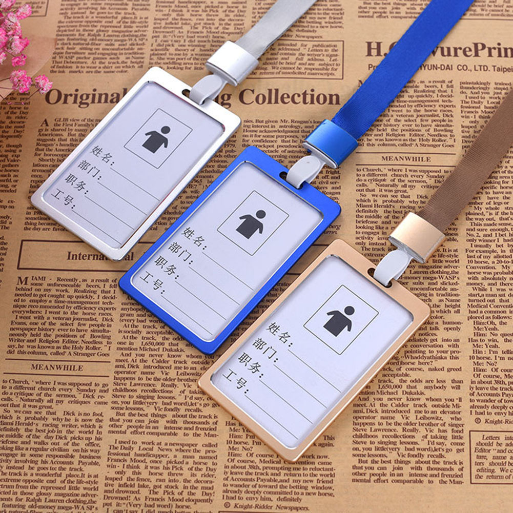 1PC Work Card Holders With Rope Aluminium Alloy Card Holder Employee Name ID Card Cover Metal Work Certificate Identity Badge