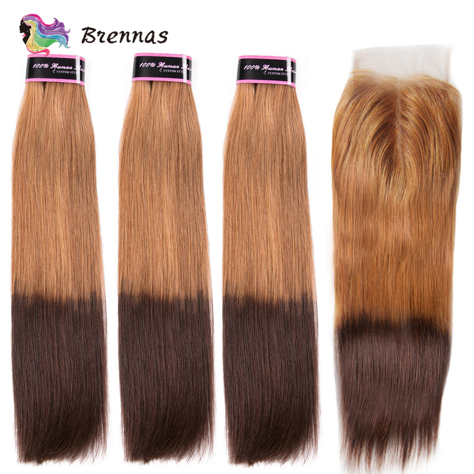 Brennas Ombre 27/4 Double Drawn Straight Human Hair Bundles With Closure Brazilian Non-Remy Human Hair Weave 12''-22'' For Women