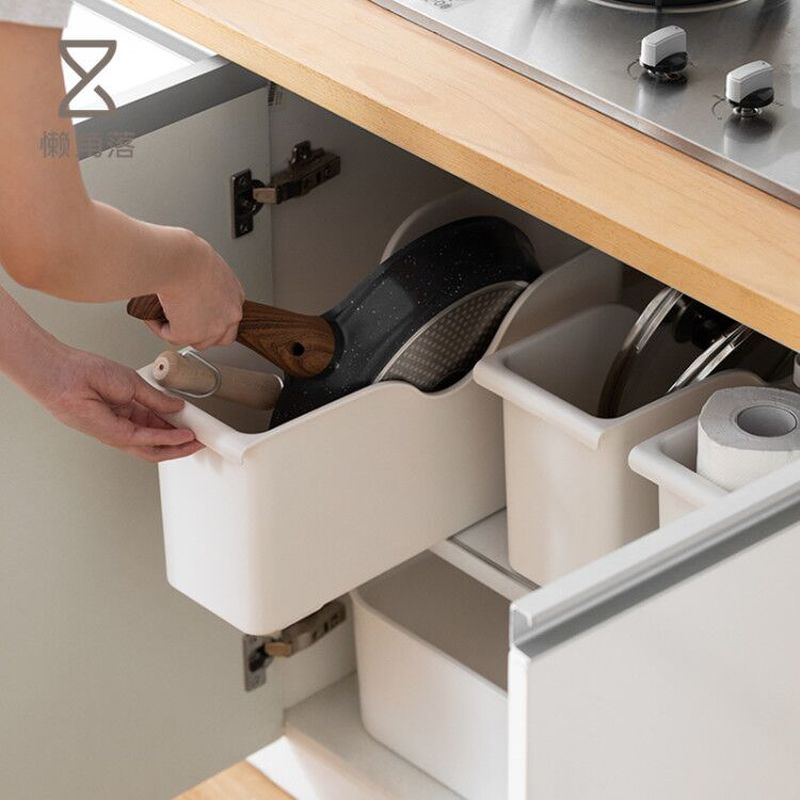 Kitchen Useful Special Storage Box Pulley Pot Cover Plastic Shelf Kitchenware White Storage Box Spice Plate Rack Storage Shelf