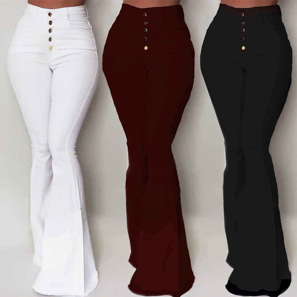 Nueva Moda Pantalones Acampanados Blancos Para Mujer Pantalones Acampanados De Cintura Alta Con Botones Pantalones Ropa De Trabajo Informales Ajustados Para Mujer Pantalones Y Pantalones Capri Aliexpress
