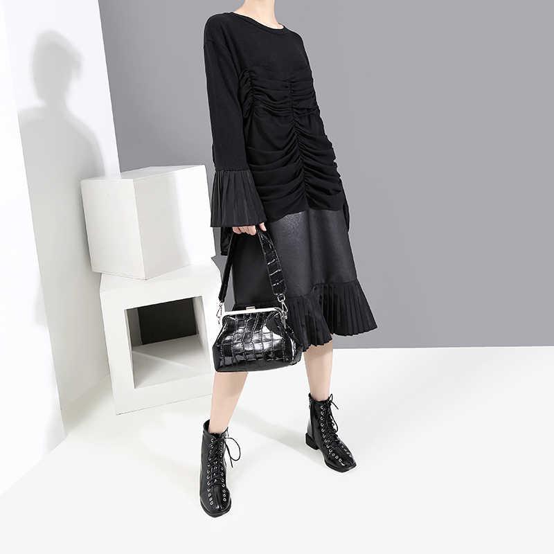 Mới 2019 Dài Tay Loe Nữ Mùa Đông Đen Xếp Ly Đầm Da PU Miếng Dán Cường Lực Rủ Nữ Thời Trang Midi Đầm Dự Tiệc Áo Dây 5708