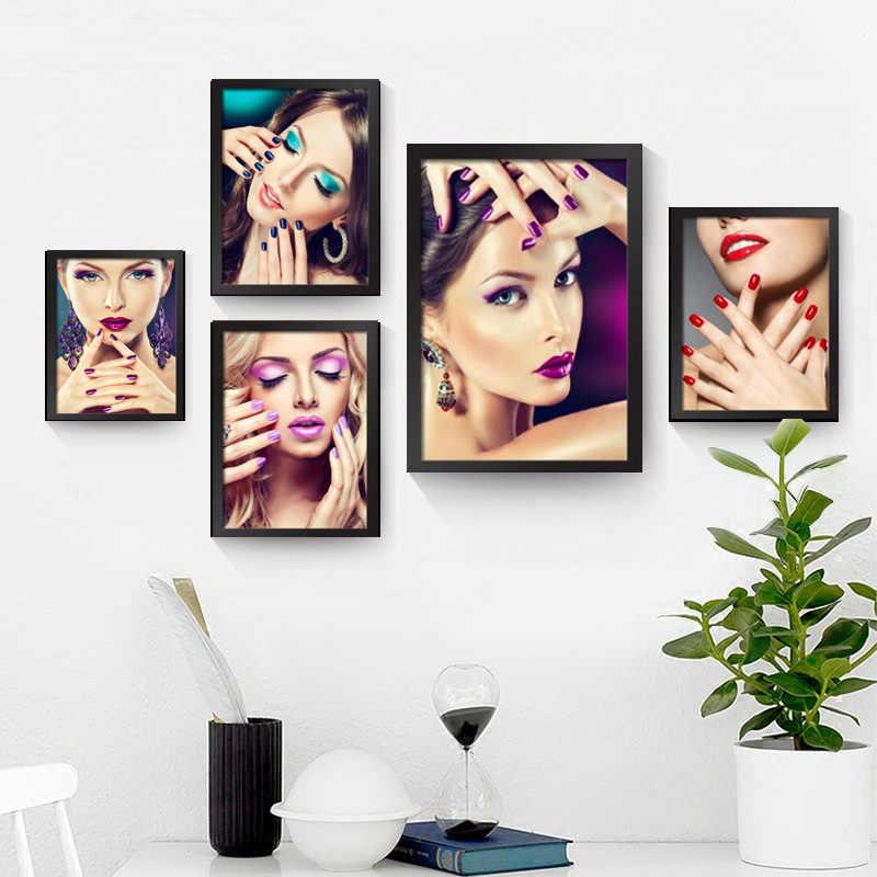 新しい現代ポスターキャンバスアートプリントポスター絵画美しいカラフルなネイルアートの絵画スパ美容メイクキャンバス家の装飾