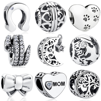 Solid 925 Sterling Silver Openwork Moon and Star Goodnight Charm Beads fit Pandora Bracelet DIY Jewelry Valentine's Day Gift goodnight moon
