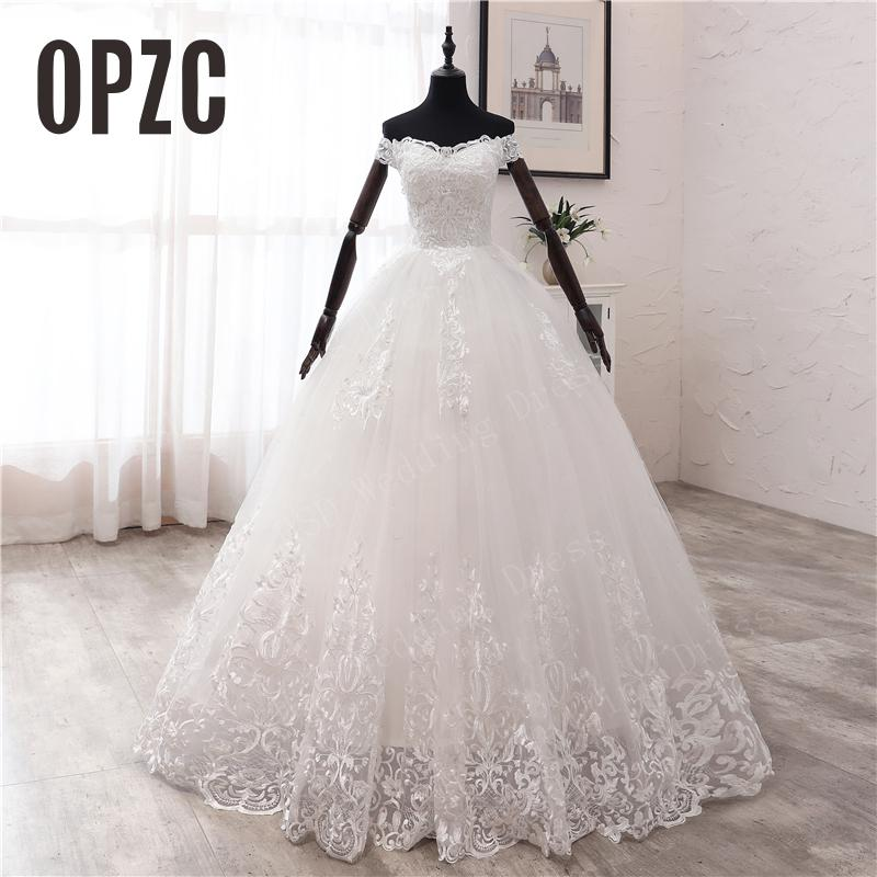 OPZC New Arrival Africa Style Korean Lace Applique Wedding Dress 2020 V Neck Off Shoulder Plus Size Bridal Gown Dress Princess