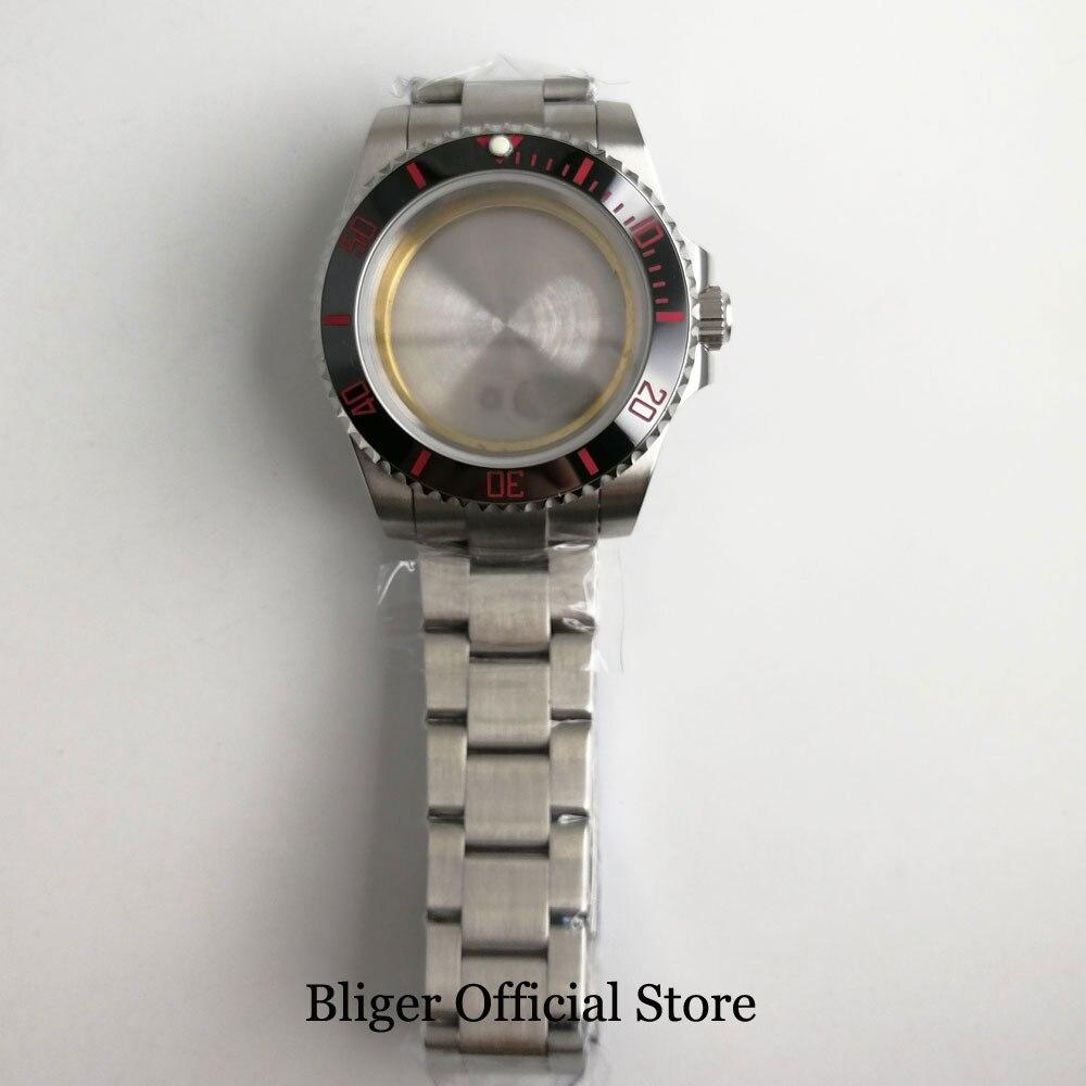 Relógio de Vidro Moldura com Banda Case Safira Cerâmica Relógio Ajuste Eta 2836 Miyota Movimento Automático 40mm