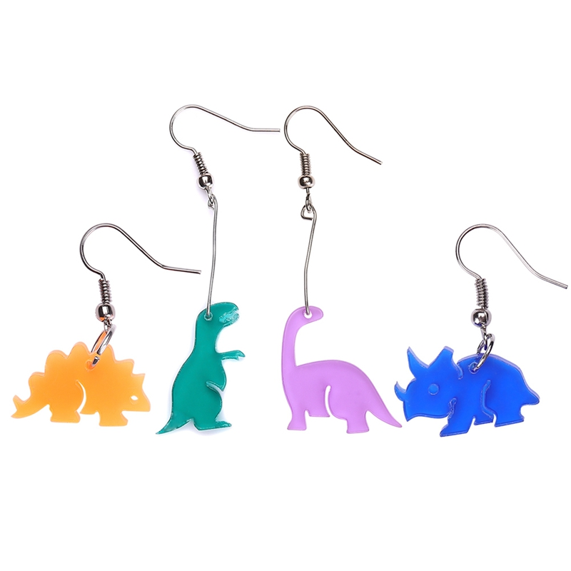 1Pair New 4 Style Personality Dinosaurs Earrings Punk Acrylic Long Earrings For Women