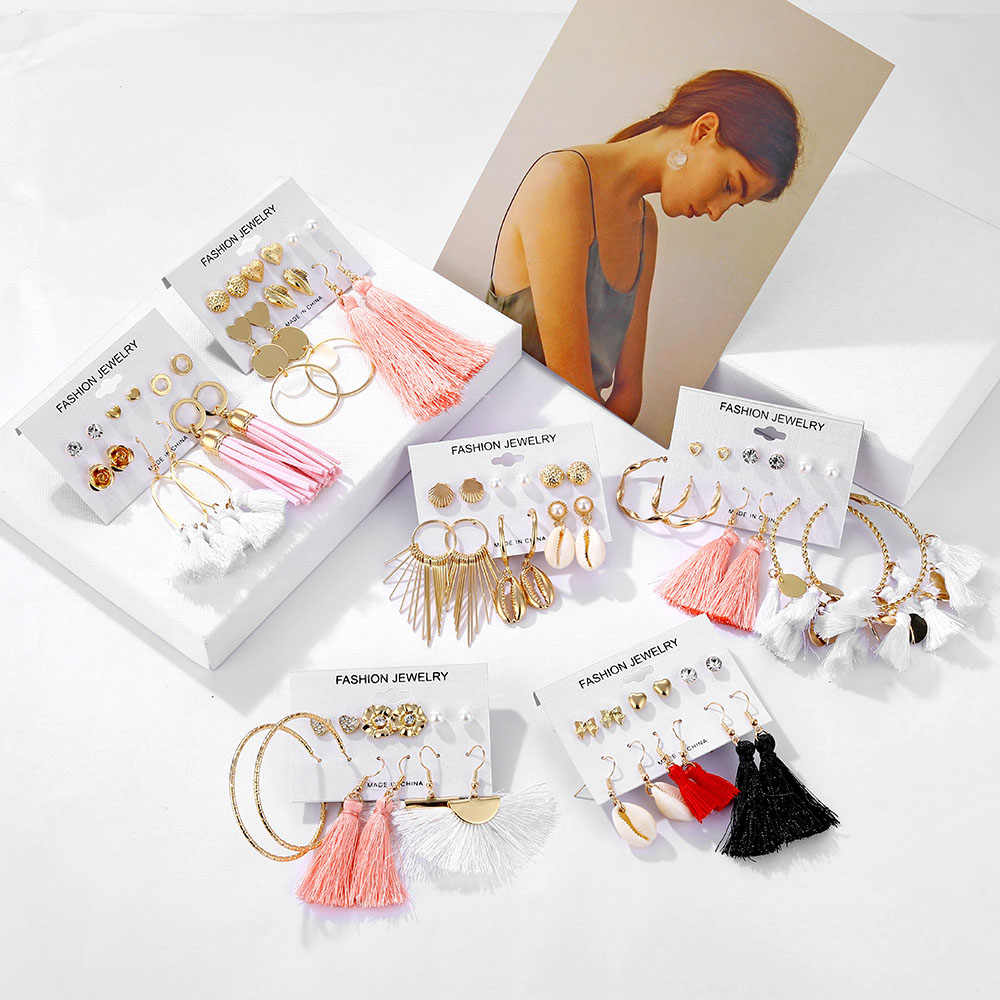 KINFOLK Bohemian Rumbai Anting-Anting Set Vintage Geometris Drop Anting-Anting untuk Wanita Brincos 2019 Fashion Panjang Drop Anting-Anting Perhiasan