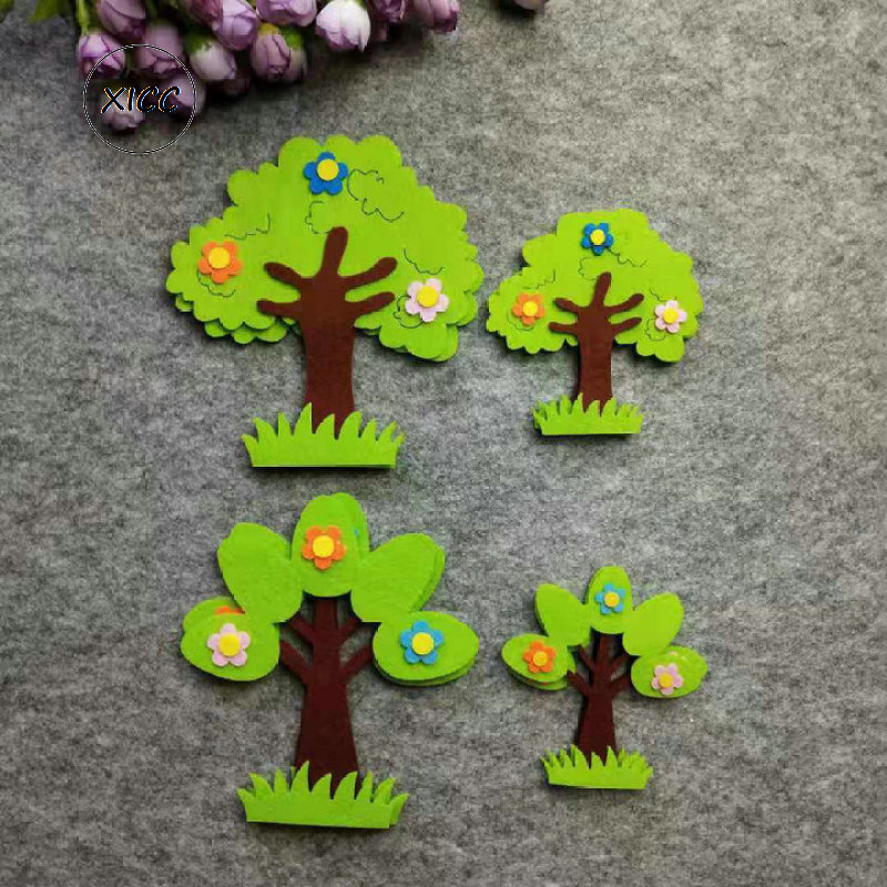 XICC Felt Non Woven Green Tree Leaves Patch Kindergarten School Wall Decoration Kids Classroom Handwork Diy Crafts Accessories