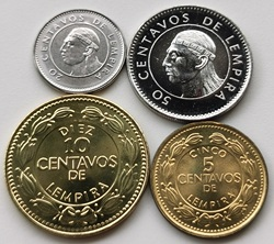 Honduras 1999-10-2007 5-10-20-50 Cent Vollen Satz 4 Stück Unc Unc echt Original Münzen Sammlung