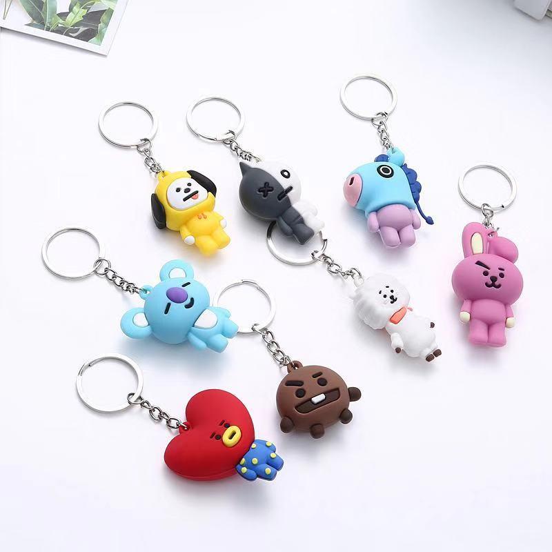 "Kpop Bangtan Boys ""Suga"" ""TATA"" Etc Personalized Cute Cartoon Keychain Bags Chain For Women Men Jewelry Bangtan Accessories"