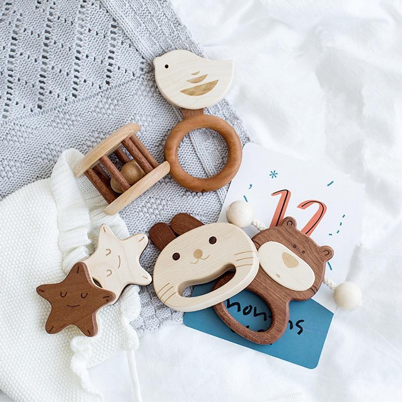 5 pièces/ensemble bébé hochet en bois jouets de haute qualité érable en forme d'animal en bois dentition peut mâcher bébé hochets Montessori poussette jouets