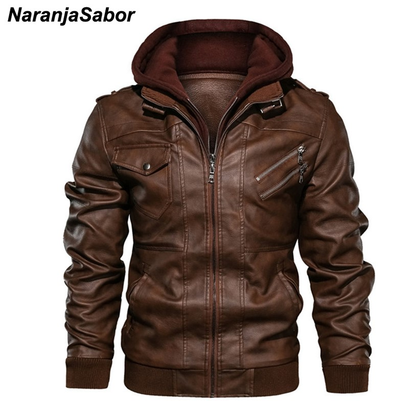 NaranjaSabor Leather Jacket Mens 2019 Winter Thick PU Motorcycle Coat Men Casual Hoodie Jacket Male Brand Clothing EU Size N589