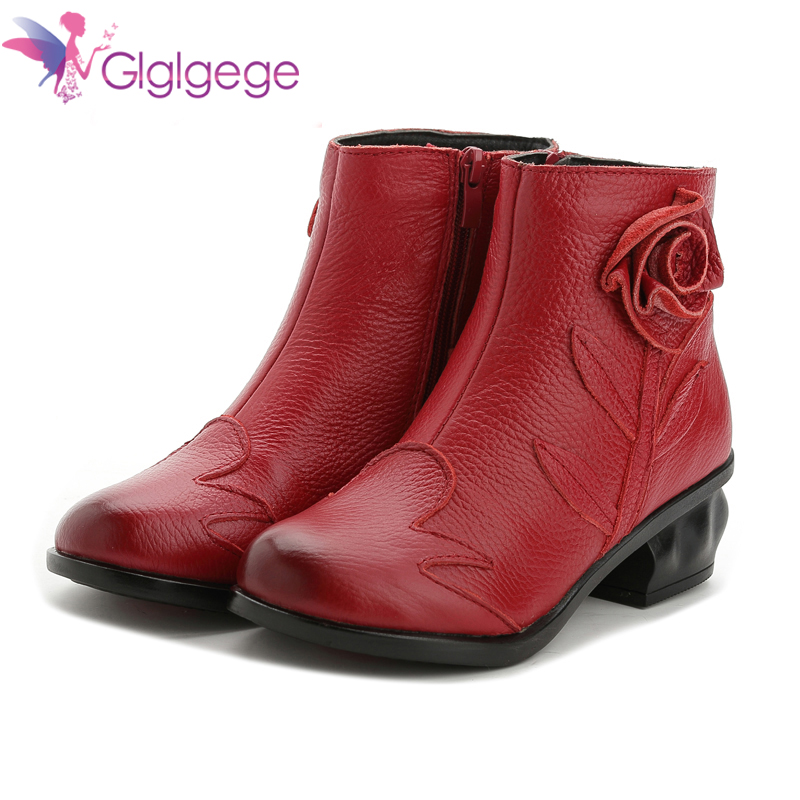 Promo Glglgege British Style Genuine Cow Leather Women Ankle Boots Winter Fashion Pleated Zipper Short Boots Women Flats Shoes