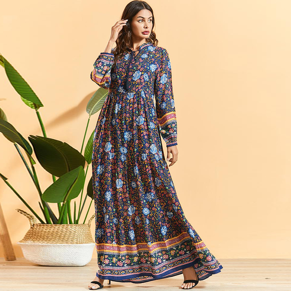 Siskakia Bohemian Floral Dress Plus Size Ethnic Tassel Drawstring Stand Collar High Waist Swing Long Sleeve Maxi Dress Spring