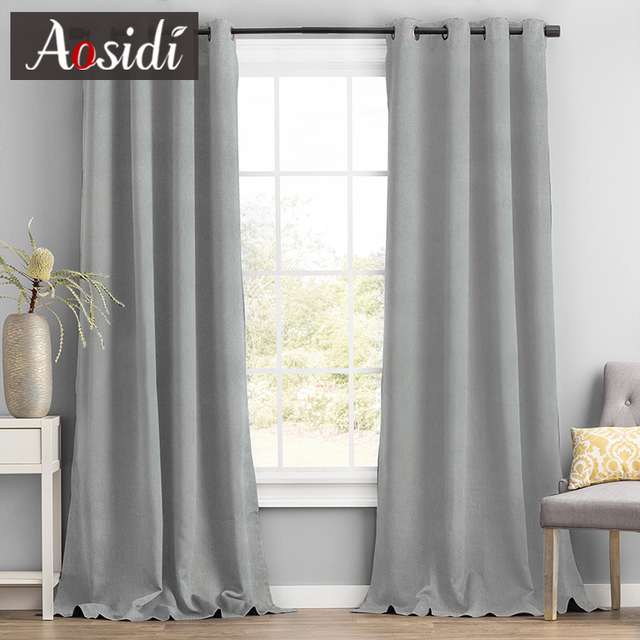 Купить aosidi linen textured 100% blackout curtains for bedroom modern картинки цена