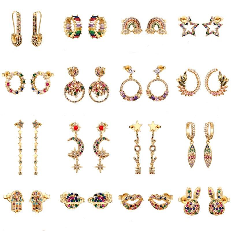 Rainbow Zircon Stud Earrings Jewelry For Women Gold Silver Cz Earrings Star Love Smile Flower Earrings Jewelry Christmas Gift