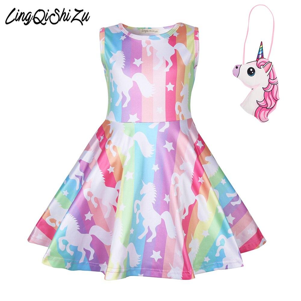 Baby girl clothes unicorn dress kids rainbow dresses for Girls Halloween costume cosplay Party Vestidos 1222