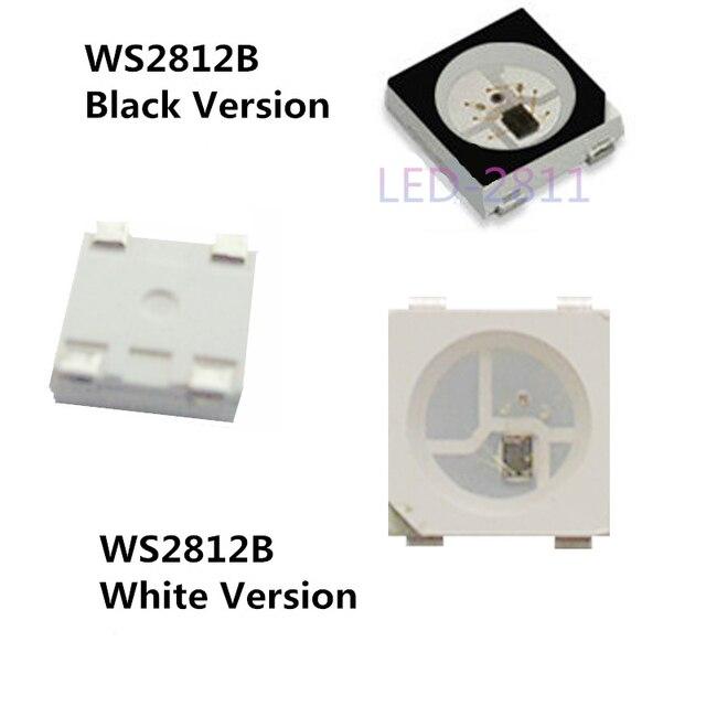 100 ~ 1000pcs WS2812B LED שבב; 5050 RGB SMD;WS2812; בנפרד מיעון דיגיטלי; DC5V; שחור/לבן גרסה