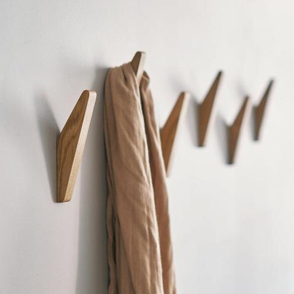 4 Uds. Colgador de ropa de madera Natural montado en la pared gancho de la capa decorativo sostenedor de sombrero de la llave bufanda bolso colgador de almacenamiento estante de baño