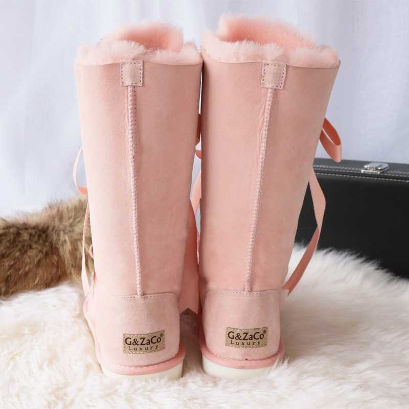 G&Zaco Luxury Winter Knee High Sheepskin Snow Boots Natural Wool Sheep Fur Boots Strap Sweet Bow Women Long Boots Flat Shoes