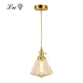 Brass glass LED Pendat Lights Diamond Shade Hanging Lamp Restaurant bar Nordic Retro lighting for Kitchen Island with E27 Bulbs