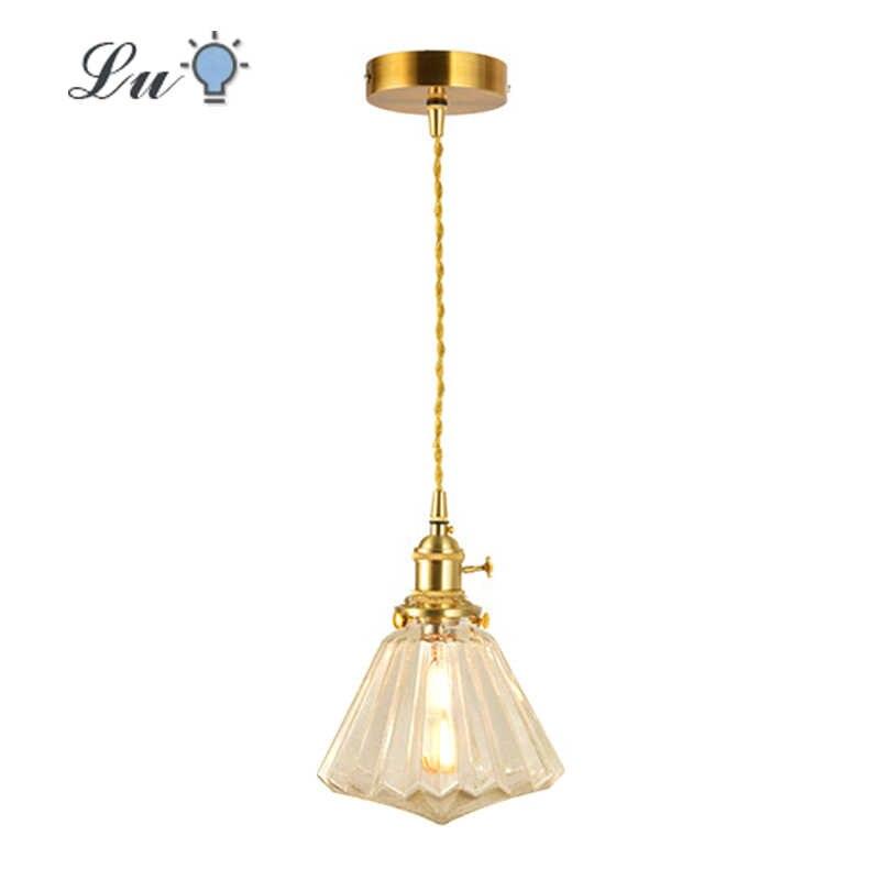 真鍮ガラス led pendat ライトダイヤモンドシェード吊りランプ北欧レトロ照明キッチンの島 E27 電球