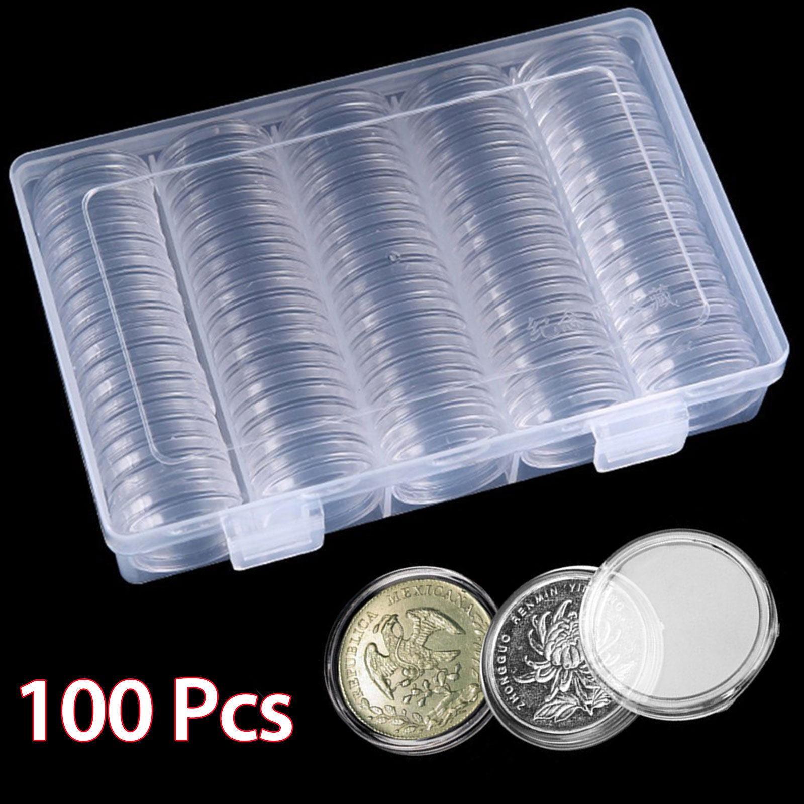Round Display Coin Holder Storage Tube Clear Plastic Container Box Portable 30mm