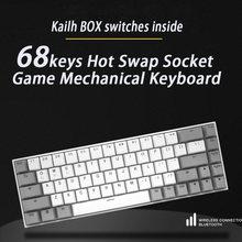 Fl esports 68 chaves quente swap socket gaming teclado mecânico kailh caixa interruptor para dentro para computador portátil escritório trabalho