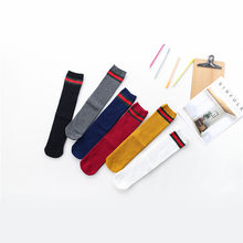Korean-style Double Needles Rainbow Stockings Spring And Summer Men And Women Children Stockings College Flat Sock over-the-Knee(China)