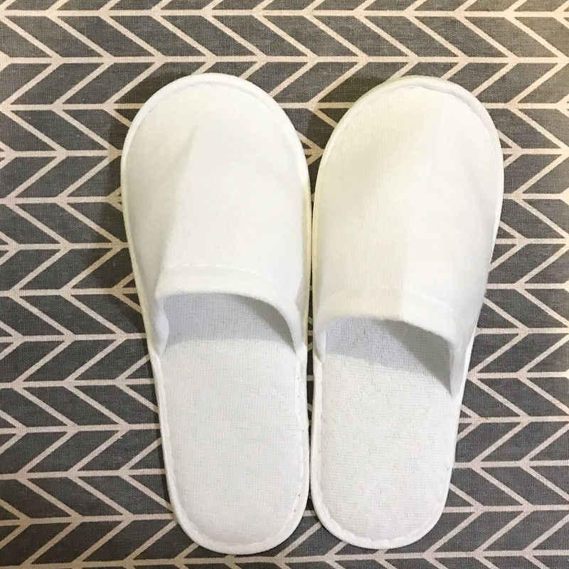 Erkekler kadınlar Unisex tek kullanımlık 1 çift Spa otel misafir terliği seyahat ayakkabısı tek kullanımlık kumaş olmayan dokuma terlik