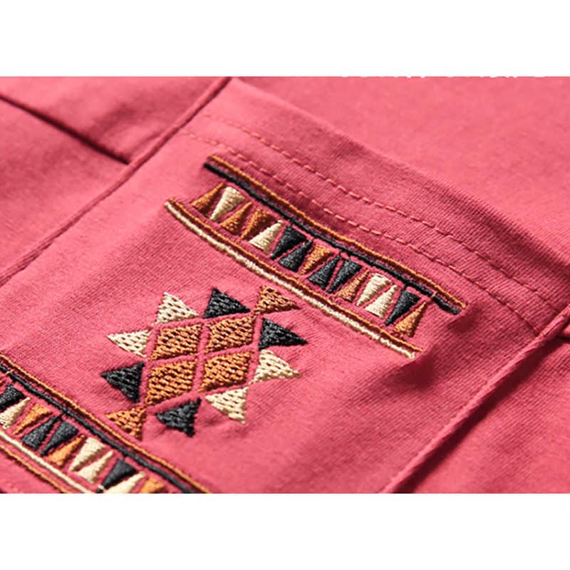 Kieszeń haft T koszula kobiety 2020 z długim rękawem luźna odzież damska bawełna luźna koszulka kobiet Poleras Mujer De Moda 2019