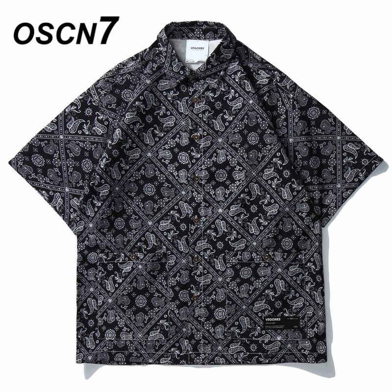 OSCN7 Casual Crane Printed Short Sleeve Shirt Men Street 2020 Hawaii Beach Oversize Women Fashion Harujuku Shirts For Men C272