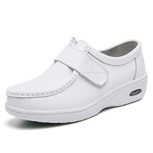 Platform Shoes Loafers Velcro Genuine-Leather Chunky Flats White Casual Women Lady Thick