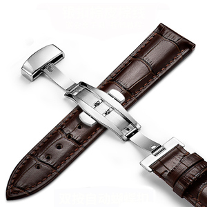 Image 2 - Genuine Leather Watchband Strap Stainless Steel Butterfly Clasp 13mm 14mm 15mm 16mm 17mm 18mm 19mm 20m 21mm 22mm Watch Bracelet