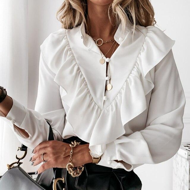 Casual Leopard Dot Print Ruffle Blouse Shirt Autumn Winter Long Sleeve Women Shirts Elegant Office Lady V-Neck Button Tops Blusa 5