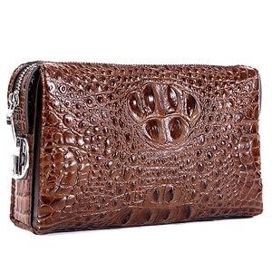 Image 2 - رجل محفظة جلدية حقيقية التمساح رجل حقيبة صغيرة مصمم الأعمال الذكور الهاتف محفظة جلد البقر carteras hombre billeteras