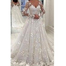 Robe de soirée en maille brodée à manches longues, col en v, blanche, élégante, mode trapèze, robes en dentelle de Style britannique