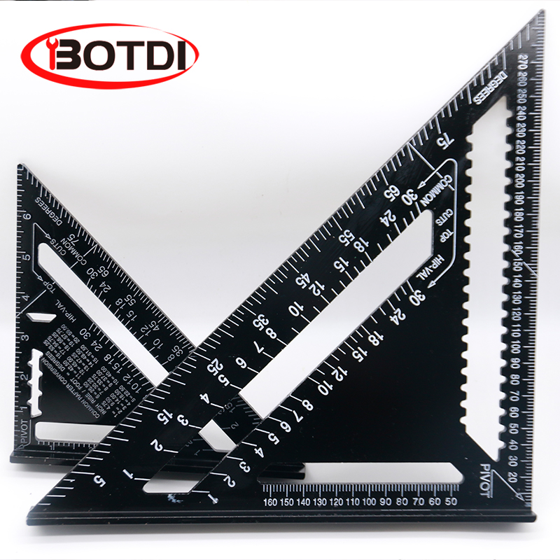 7/12inch Aluminum Alloy Triangle Angle Ruler Squares For Woodworking Speed Square Angle Protractor Measuring Tools Rulers