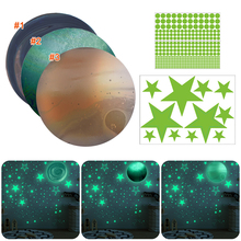 Wall-Stickers PVC for Living-Room Bedroom Home-Decor Planets Stars Glow-In-The-Dark
